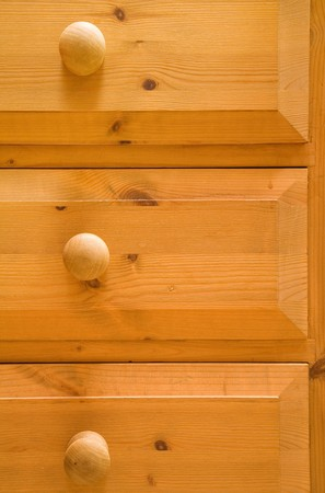 closeups: Detail of pine chest of drawers Stock Photo