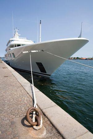 moored: Luxury yacht moored at Copenhagen harbour Stock Photo