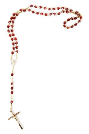 religious text: Rosary bead border isolated on white with space for text Stock Photo