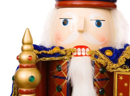 A traditional Christmas nutcracker ornament isolated on white Stock Photo - 4866215