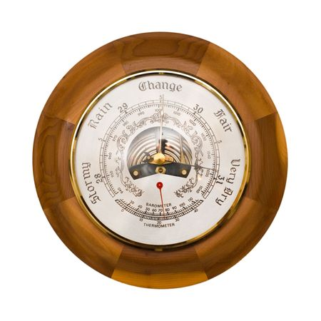 collectable: Traditional wooden barometer and thermometer isolated on a white background