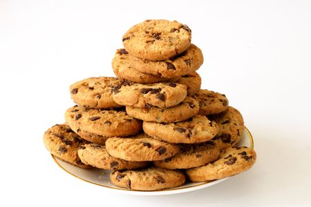 chocolate chip cookies: Plate of chocolate chip cookies isolated