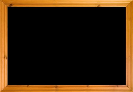 Wooden frame with black isolated area. Could also be used as a school blackboard. photo