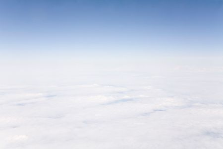 stratosphere: Cloud formations, skyline and stratosphere taken from high altitude Stock Photo