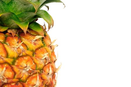 Detail of a pineapple against a white background with copy space Stock Photo - 6125390