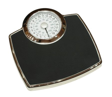 Analogue bathroom weighing scales photo