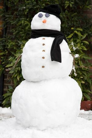 nobody real: Snowman wearing shades, hat and scarf