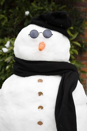 Snowman wearing sunglasses, hat and scarf Stock Photo - 6177377
