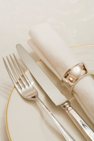 banqueting: Place setting with cutlery, plate and napkin on a damask tablecloth