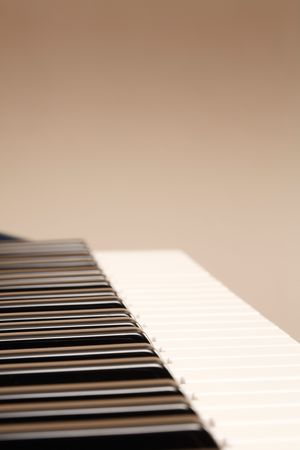 Side view of a piano keyboard with copyspace photo