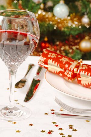 Closeup of a christmas dinner table photo