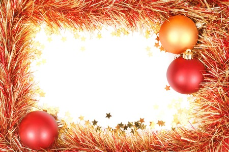 Christmas template with white space surrounded by Christmas decorations, tinsel and confetti photo