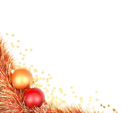 tinsel: White space with a Christmas design in the bottom left corner featuring red and gold baubles, tinsel and confetti