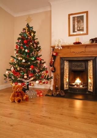Woonkamer met Kerst decoraties, een open haard en de kerst boom. [Opmerking: foto boven de open haard is foto grafen eigen werk]