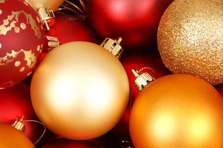 red glittery: Colorful christmas baubles in red and gold