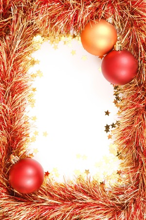 Christmas template with white space surrounded by Christmas decorations, tinsel and confetti Stock Photo - 7989827