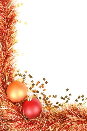 christmas border with red and gold christmas decorations tinsel