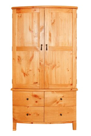 Modern pine wardrobe isolated against a white background Stock Photo - 9027503