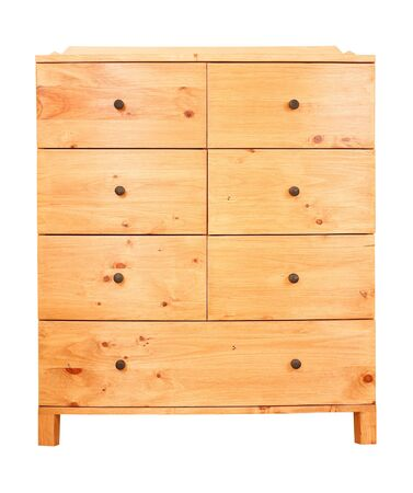 Contemporary pine chest of drawers isolated against a white background Stock Photo - 9027504