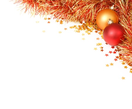 tinsel: White space with a Christmas design in the top right corner featuring red and gold baubles, tinsel and confetti
