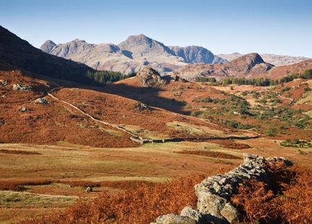 english countryside: View of the Langdale Pikes from Langdale in the Lake District, Cumbria, UK Stock Photo