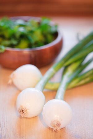 worktops: Spring onions and herbs on a wooden kitchen counter Stock Photo