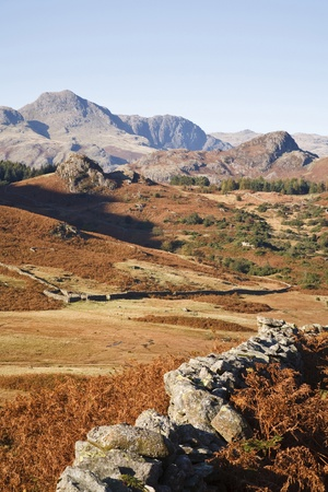 dry stone: View of the Langdale Pikes from Langdale in the Lake District, Cumbria, UK Stock Photo