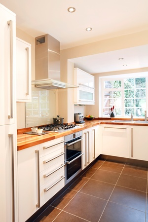 Modern white kitchen with wooden worktops and stainless steel appliances photo
