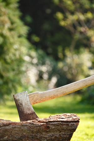 splitting up: Woodcutters axe for chopping firewood in a woodland setting with copyspace Stock Photo