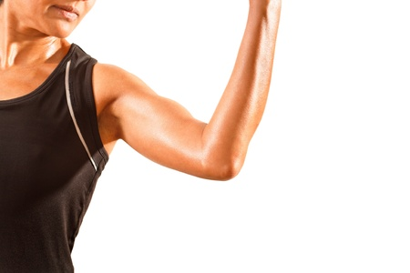 Athletic asian woman wearing lycra  Isolated against a white background with space for copy  photo
