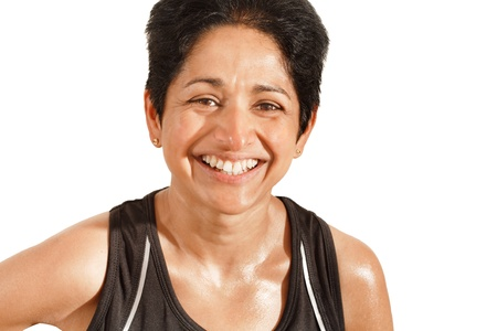 asian woman face: Athletic Indian woman smiling, isolated against a white background with clipping path