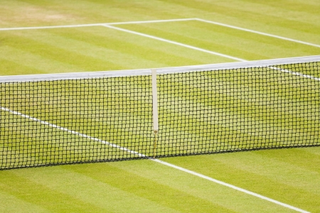 Closeup of a lawn tennis court with net and lines Stock Photo