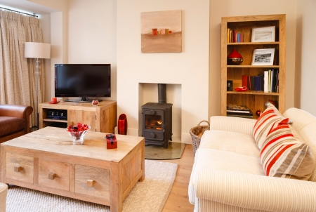Contemporary living room with neutral colors, wood burner and wooden floor  Photographers own artwork on wall and bookcase