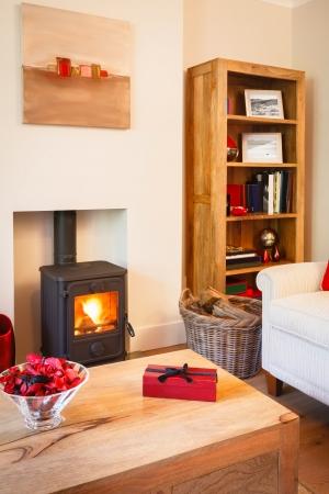 designers interior: Moderno, accogliente soggiorno con colori neutri, mobili in legno e stufa a legna Fotografi artwork sul muro e libreria
