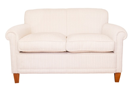 seating furniture: Modern neutral cream sofa isolated against a white background with clipping path