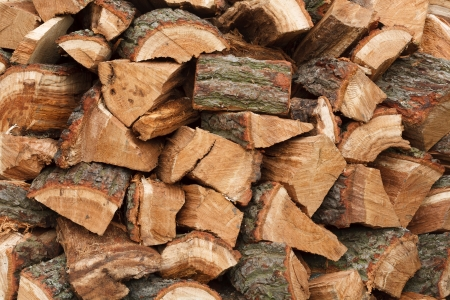 Closeup of a wood pile with chopped oak firewood