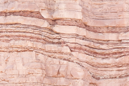 Detail of geological formations in faulted sandstone sedimentary rock
