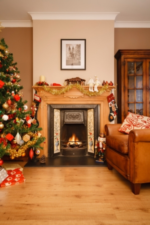 Christmas scene in a living room with copyspace