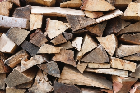 piled: Close up of cut oak wood pieces piled in a stack Stock Photo