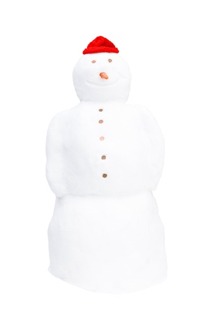 Real snowman isolated against a white background Stock Photo - 15812372