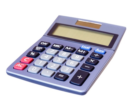 Closeup of a calculator against a white background