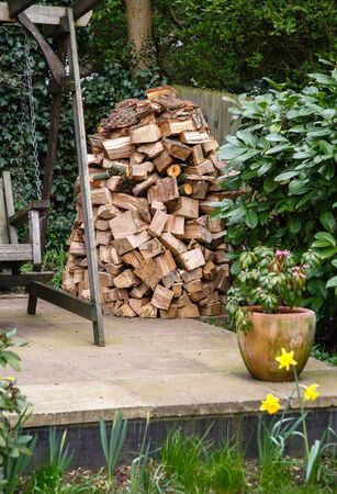 holz: Circular wood stack or holz hausen with oak firewood seasoning in a garden