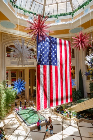 centers: Giant American flag hanging in a shopping mall in Las Vegas