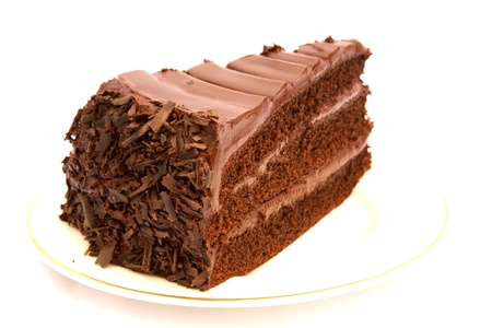 chocolate slice: Slice of rich chocolate cake on a white plate