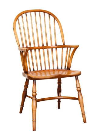 arm chair: Traditional wooden arm chair isolated against a plain white background