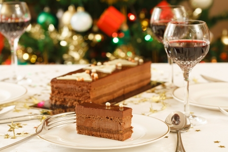 hospitality industry: Fine dining at home at Christmas time Stock Photo