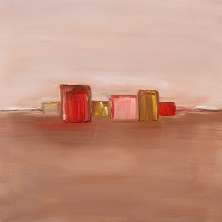 Contemporary oil painting of an abstract landscape in red and neutral colors photo