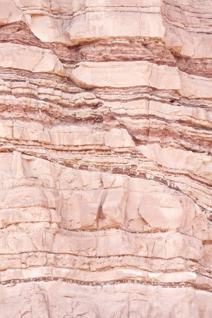 Closeup of geological layers in extensional  normal  faulted sandstone sedimentary rock