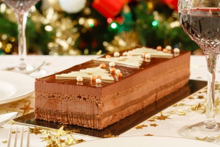 chocolate pudding: Luxury chocolate dessert at a family Christmas meal