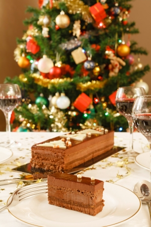 Fine dining at home at Christmas time photo